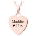 rose gold petite heart flat pendant with custom text