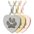 Wholesale Petite Heart Pawprint Flat Charm in silver, yellow or rose gold