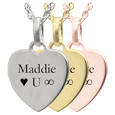 Wholesale Petite Heart with Text Engraving in silver, yellow or rose gold