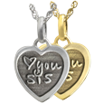 Wholesale Petite Heart flat charm with 3D Handwriting in silver or gold