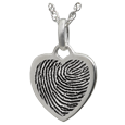 fingerprint heart charm necklace in sterling silver