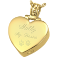 Wholesale Pet Cremation Jewelry: Filigree Bail Heart shown engraved