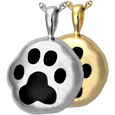 Wholesale Pet Jewelry: Hammered Paw Print shown in silver and gold metals