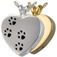 Paw Prints On My Heart pet jewelry shown in silver and gold metals