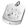 Urn opening shown on base of Paw Print Dog Tag