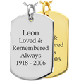 Wholesale Dog Tag Flat with Text Engraving in silver or gold