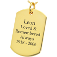 Wholesale 14K Yellow Gold Dog Tag Flat with Text Engraving