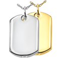 Wholesale Pet Cremation Jewelry: Dog Tag shown in silver and gold metals