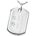 Wholesale Pet Cremation Jewelry: Dog Tag shown engraved with name and dates