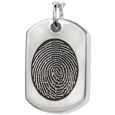 Silver Dog Tag Oval Fingerprint Jewelry with compartment