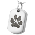 Silver Dog Tag Pawprint Jewelry with compartment