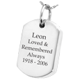 Silver ash holding Dog Tag with Text Engraving