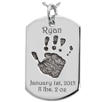Wholesale Baby Hand-Print on Silver Dog Tag Keepsake