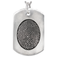 Silver Flat Dog Tag Oval Fingerprint Jewelry