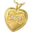 Gold Dog Bone Heart with Stones Cremation Jewelry