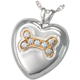 Dog Bone Heart with Stones pet jewelry gold bone silver pendant