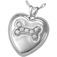 Silver Dog Bone Silver Heart with Stones pet jewelry