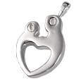 Parental Love, Double Compartment jewelry back shown in silver