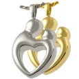 Parental Love, Double Compartment jewelry shown in silver and gold metals