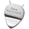 Photo Engraved Guitar Pick back shown engraved with text
