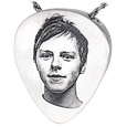 Photo Engraved Guitar Pick shown in silver