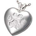 Paw Print Heart Cremation Jewelry shown in silver