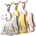 Wholesale Pet Cremation Jewelry Good Dog shown in silver and golds