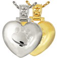 Paw Print Heart with Paw Print Bail pet jewelry shown in silver and gold