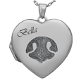 Photo Heart Locket with Pet Noseprint and name in script