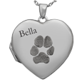 Heart Pet Photo Locket- Pawprint with name