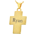 Wholesale Text Engraved 14K Yellow Gold Cross Jewelry