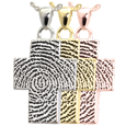 Cross Fingerprint Jewelry shown in silver, yellow and rose gold