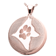 Round Actual Pawprint & Silhouette ash rose gold