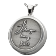 Silver Compartment Round Personalized Jewelry front 3D Handwriting