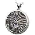 Silver Round Fingerprint Jewelry with chamber