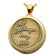 Yellow Gold Ash Round Personalized Jewelry front 3D Handwriting