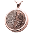3D Fingerprint Moon Round Pendant rose gold compartment style