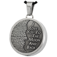 3D Fingerprint Moon Round Pendant ash holding in stainless steel