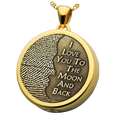 3D Fingerprint Moon Round Pendant ash holding yellow gold