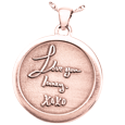 Rose Gold Round Personalized Jewelry front 3D Handwriting