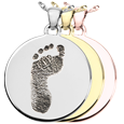 flat round foot print jewelry shown in silver, yellow and rose gold