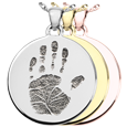 Round Handprint Jewelry shown in silver, yellow and rose gold