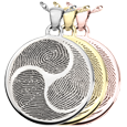 Wholesale B&B Round Shinto Tri-print Jewelry shown in silver and gold