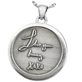 Silver Round Personalized Jewelry front 3D Handwriting