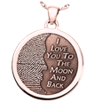 3D Fingerprint Moon Round Pendant in rose gold