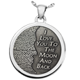3D Fingerprint Moon Round Pendant in silver