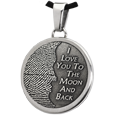 3D Fingerprint Moon Round Pendant in stainless steel