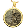 3D Fingerprint Moon Round Pendant in yellow gold