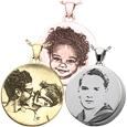 samples of round photo pendants engraved with photo