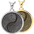2 Fingerprints Yin Yang round pendant in silver or gold